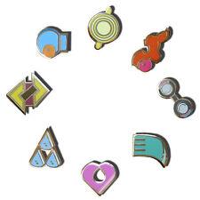 Complete Set of 8 Gold Hoenn Gym Leader Badges Lapel Pins   Pokemon Series III