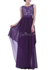Womens Gown Prom Dress Lace Long Chiffon Bridesmaid Evening Party Cocktail Skirt