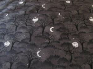 Bäume Wald Mond Gothic Halloween  schwarz   Baumwolle  50x110  cm