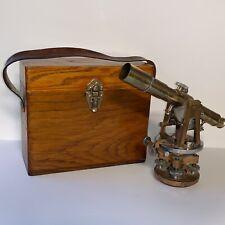 Antique Leitz Company Model # 148 Brass Transit & Telescope & Wood Carrying Case