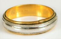 VINTAGE DESIGNER SIGNED 10K YELLOW GOLD FILLED & STERLING SILVER BAND RING S7 !