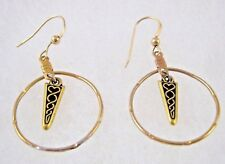 "Tone Plated Metal Earrings 1 3/4"" Celtic Scottish Knot Charm Dangle Hoop Gold"