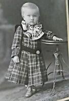 Vintage cdv cabinet card photo Id'd beautiful boy child in plaid dress