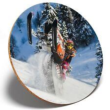 1 x Snow Mobile Stunt Riding - Round Coaster Kitchen Student Kids Gift #16051