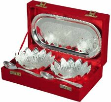 MAMTA CREATIONS Festivals Gifts Silver Plated Floral Shaped Brass Bowls with 1 S
