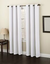"2 WHITE PANELS THICK LINED BLACKOUT GROMMET WINDOW CURTAIN K86 63"" LONG"