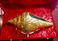 Beautiful Golden Shell with stand Beach Decor Large in decorative box antique