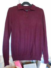 Polo grenat - Femme - Taille 38-40 - laine mélangée - manches longues, croquet