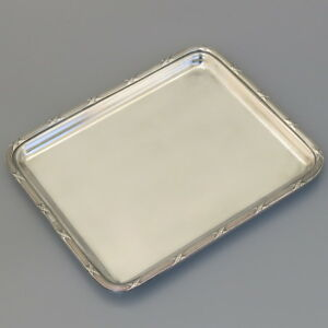 Antique French Silver Plated Serving Tray Business Calling Card Liquor Vodka Cup