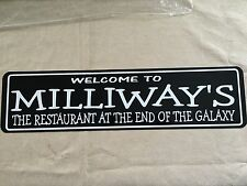 """WELCOME TO MILLIWAYS (HITCHHIKER GUIDE TO THE GALAXY) Sign 6""""x24"""" ALUMINUM"""
