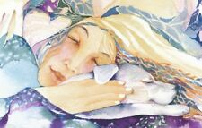 GREETING CARD spiritual art watercolor 'Mirabai in my Dreams' white dog blessing