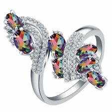 Chic Women 925 Silver Mystic Topaz Gemstone Wedding Proposal Gifts Ring Size