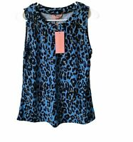 Amana Womens Small Blue and Black Leopard Print Short Sleeve Top