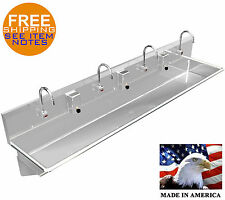 """4 Users 84"""" Wash Hand Sink Automatic Elec. Faucet Stainless Steel Washing Sink"""