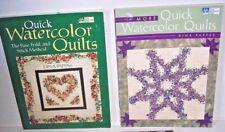 Lot 2 Quick Watercolor Quilt books Dina Pappas fuse fold & stitch method pattern