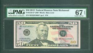 FR#2132-E* 2013 $50 SCARCE RICHMOND STAR NOTE AWESOME BEAUTY PMG GEM 67 EPQ!!!