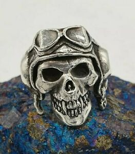 The Great Frog Paterson - Death From Above Skull Ring, Silver 925. Size V