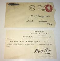 Antique American Civil War Veterans NY GAR Tax Receipt, Original Envelope C.1908