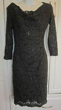 New With $174.00 Tags Women Ralph Lauren Coal/Black Sequin Lace Dress Size 2