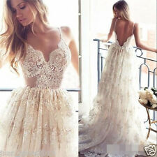 Sexy Spaghetti Strap Lace Wedding Dresses Backless Beach  Bridal Gown Custom