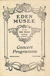 Concert Theatre Program Eden Musee Early 1900's