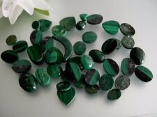 45pcs vintage natural untreated Malachite assorted cut heart oval cabochon loose