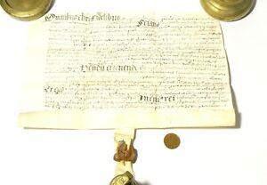 Elizabeth I 17thC Latin Vellum Sealed Grant Document Unidentified  #T142C