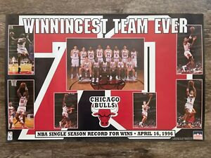 1996 Starline Chicago Bulls Winningest Team Ever Original Poster Michael Jordan
