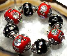 16mm Red Black Ceramic Porcelain Round Loose Beads 8pcs
