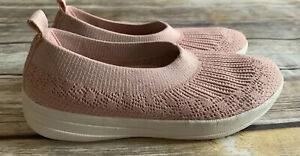 FITFLOP UBERKNIT SLIP ON BALLET FLATS SNEAKERS BLUSH PINK MAUVE SIZE 6.5