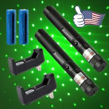 2Pc 900 Miles Green Laser Pointer Pen Focus/Zoom 532nm Lazer+Charger+Battery Us
