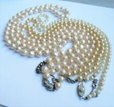 ANTIQUE VINTAGE PEARLS NECKLACES LOT BIJOUX COLLIERS ANCIENS ARGENT MASSIF PERLE