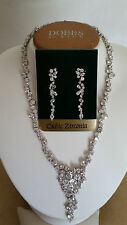 SPECIAL OCCASION & BRIDAL CLUSTERED CUBIC ZIRCONIA NECKLACE & EARRING SET