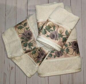 Croscill Chambord Cassis 1 Bath 2 Hand Towels 2 Washcloths Amethyst Purple