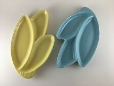 2 mid-century U.S.A. serving platter tray yellow blue Easter Spring decor