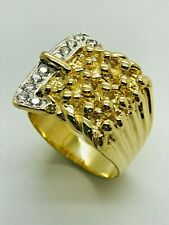 9ct Yellow Solid Gold 4 Row CZ Keeper Buckle Ring