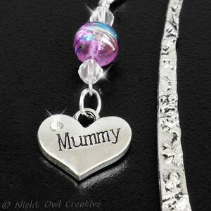 Hand-crafted Antique Silvertone Bookmark, Crystal Beads, MUMMY Charm FREE UK P&P
