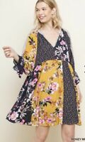New UMGEE Boho Dress Women's LARGE Floral Bell Sleeves Hippie Honey Patchwork