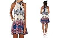 Leo Rosi Women's Darcy Halter Blue Tie Neck BOHO Dress Tunic Size LARGE New