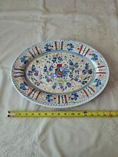 """Le Cadeaux Gallo Blue Rooster Oval 16"""" Platter Serving Tray Melamine GUC"""