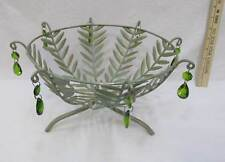 Green Metal Wire Basket Footed Antiqued w/ Glass Crystals Tear Drops Gold Trim