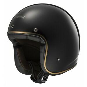 LS2 OF583 BOBBER GLOSS BLACK OPEN FACE JET HELMET MOTORCYCLE SCOOTER FIBERGLASS