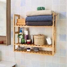 SoBuy® Mensola da parete, scaffale pensile,mensola da bagno,bambù,FRG28-B-N,IT