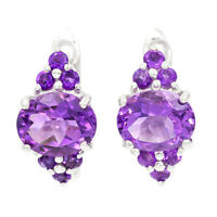 EARTH MINED RARE AFRICAN AMETHYST NATURAL RARE GEMS STERLING SILVER 925 EARRING
