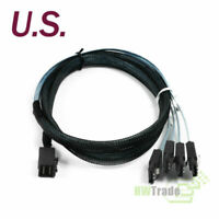 Mini SAS SFF-8643 to 4 SATA 7-pin Hard Disk 6Gbps data Server RAID Blue 1M Cable