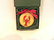Vintage Red Maine Lobster Disc Christmas Ornament