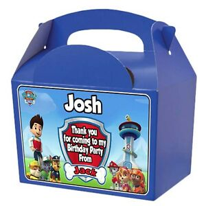 PERSONALISED Party Boxes Blue/Red Paw Patrol Childrens Kids Birthday Loot Favour