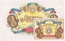 2 CIGAR BOX LABEL VINTAGE SET C1910 GENUINE EMBOSSED IN GOLD COINS HAVANA