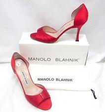 Manolo Blahnik Sedaraby Satin D'orsay Open Toe Sandals Heels Red 39 9 US