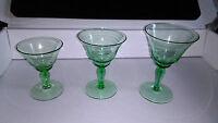 Vintage Green Art Deco Glass 3x Liqueur / Wine  / Cocktail Glasses .